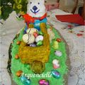 Gâteau Lapin et sa brouette 3D pâques vue face