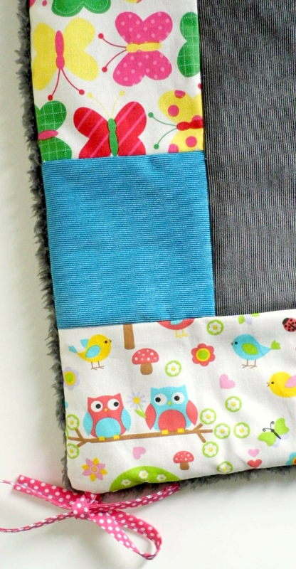 Couverture patch papillons hiboux