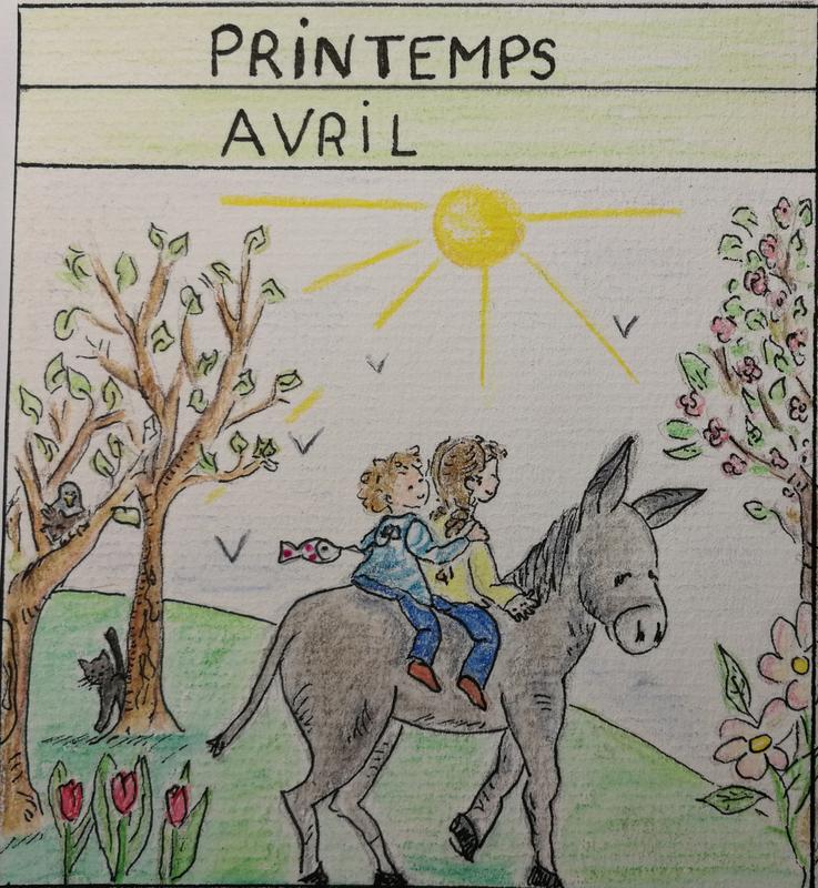 aquarelle : image du mois d'avril. Deux enfants sur un âne, un petit chat les regarde.