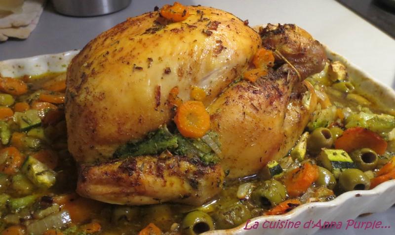 Poulet aux petits légumes et olives vertes