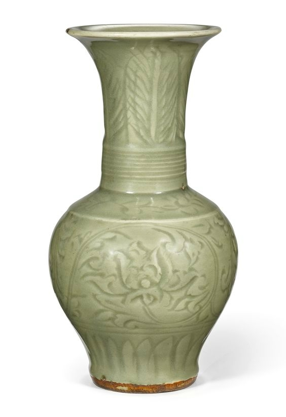 A carved 'Longquan' celadon-glazed vase, Yuan-Early Ming dynasty