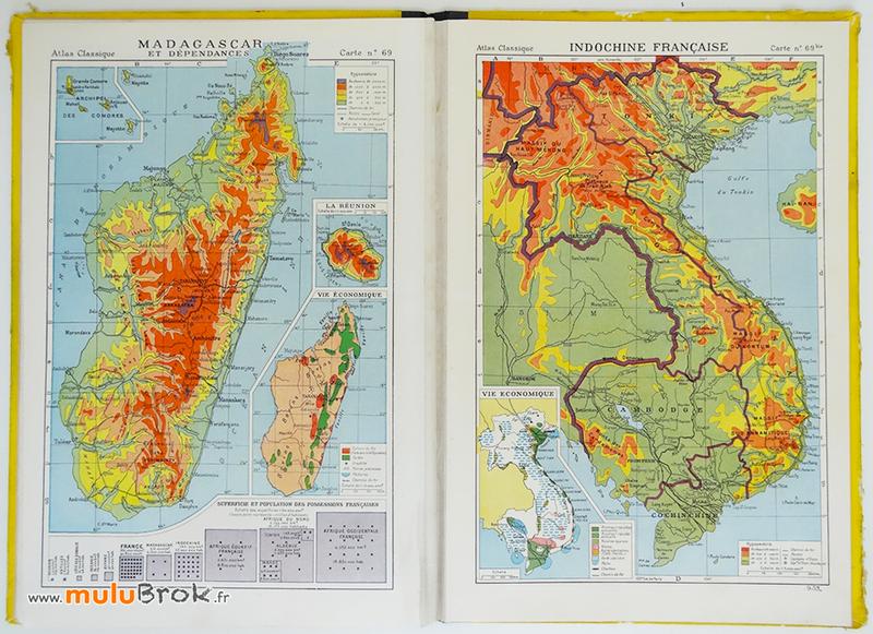 Ancien-ATLAS-CLASSIQUE-Carte-MADAGASCAR-INDOCHINE-muluBrok