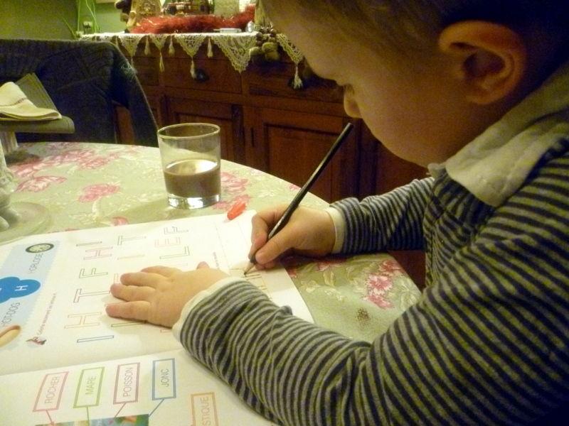 Apprentissage de l'écriture - décembre 2010