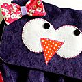 sac à dos violet hibou noeud liberty