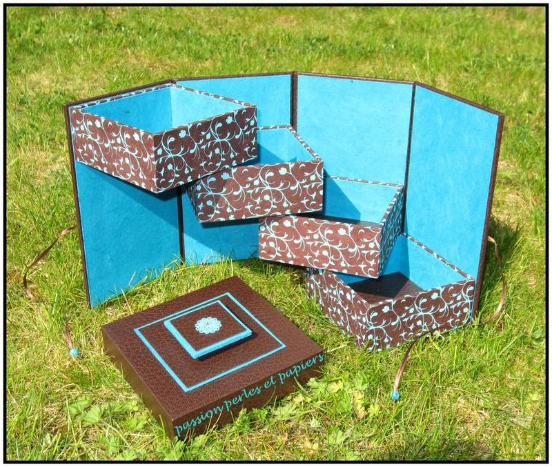 boîte échelle marron et turquoise 2