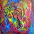 2005 peinture Visions 60x50 Acrylique sur Toile encadré de bois