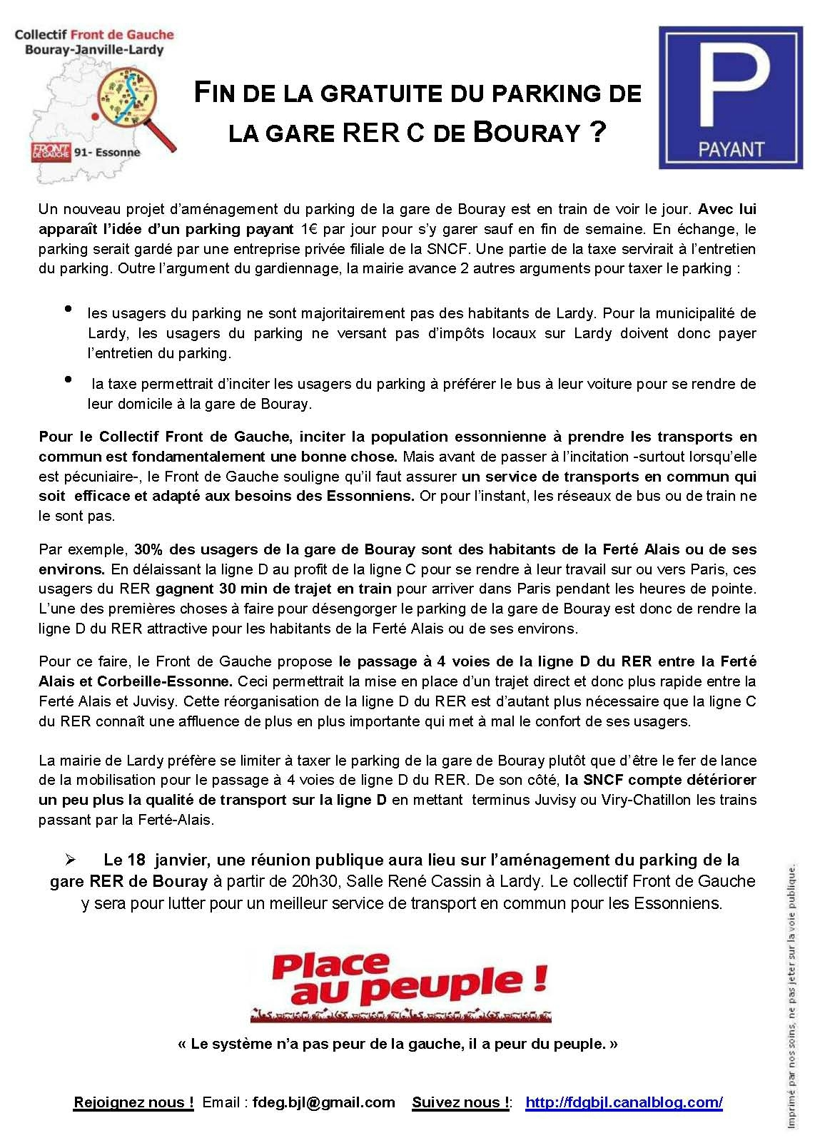 FIN DE LA GRATUITE DU PARKING DE LA GARE RER C DE BOURAY ?