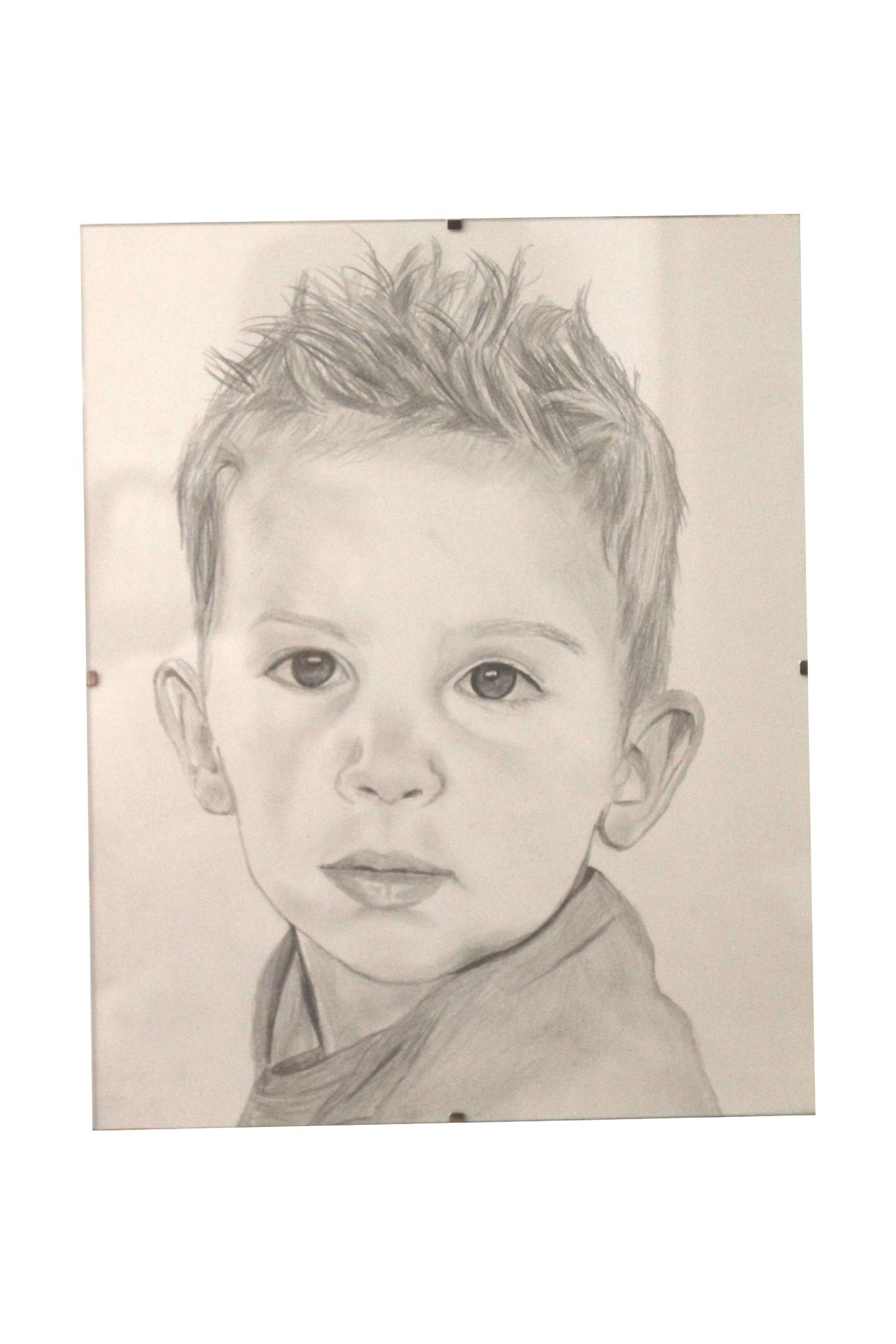portrait enfant crayon - 24x32cm