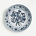 A fine and rare blue and white 'Three Friends' dish