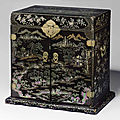 A rare mother-of-pearl-inlaid black lacquer seal chest,guanpixiang, 17th-18th century