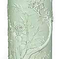 A carved pale celadon-glazed brush pot, bitong, Daoguang period (1821-1850)