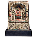 A small painted stucco buddhist stele, tang dynasty (618-907)