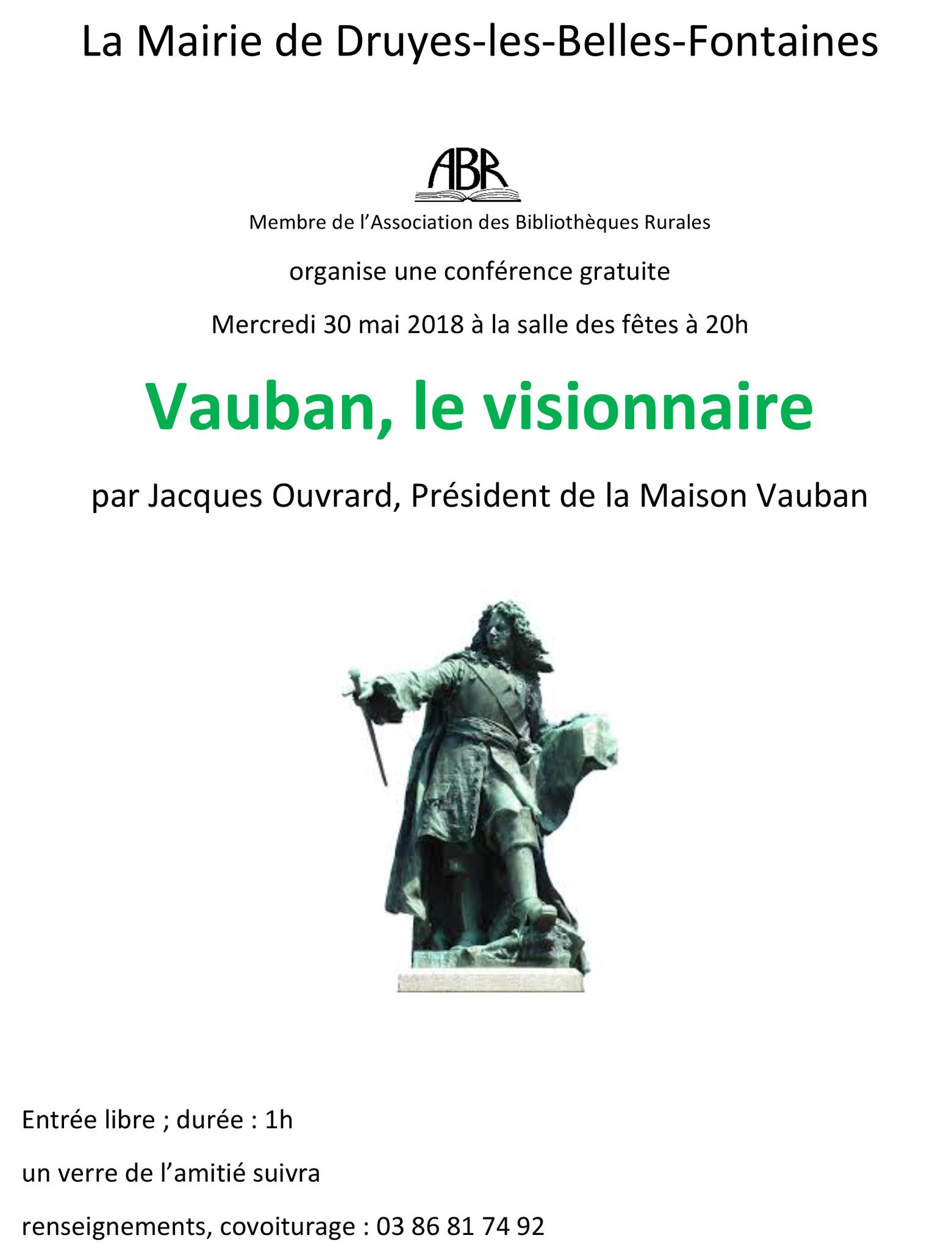 2 Juin à Druyes les belles fontaines, et si vous vous intéressiez à Vauban ?