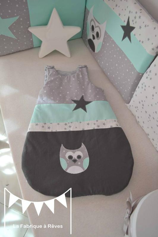 gigoteuse turbulette gris vert d'eau étoiles hibou - décoration chambre bébé fille garçon chouette étoiles vert d'eau gris