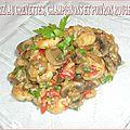 Riz aux crevettes, champignons et poivron rouge