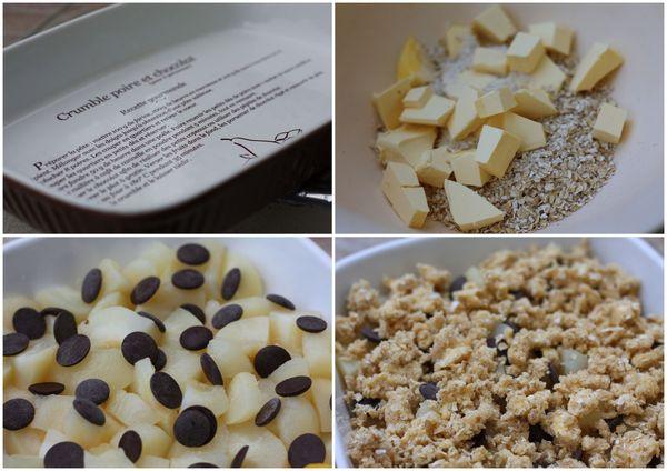 préparation crumble poire chocolat flocon d'avoine blog chez requia cuisine et confidences