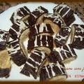 Petit four au chocolat et fourée à la pâte d'amandes
