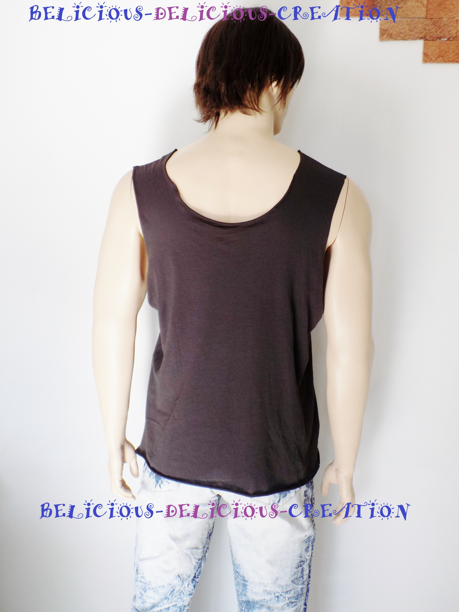 t-shirt for men marron slashed sleeveless