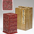 A rare four-tiered square lacquer box and cover, ming dynasty, 16th century