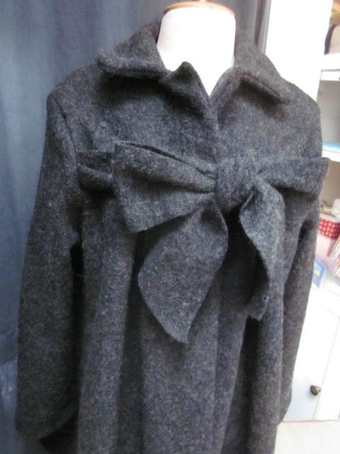Manteau AGLAE en laine bouillie gris anthracite chiné fermé par un noeud - taille 50 (10)