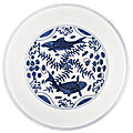 A blue and white 'fish' dish, wanli mark and period (1573-1619)