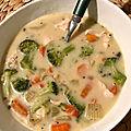 Soupe au poulet et brocolis