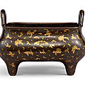 a large gold-splashed bronze rectangular incense burner, qing dynasty, 17th-18th century