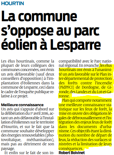 2019 12 09 SO Hourtin la commune s'oppose au parc éolien à Lesparre