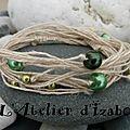 Mon côté bio écolo ressort en force aujourd'hui avec ce bracelet en fil de chanvre couleur naturel et ses perles vertes !