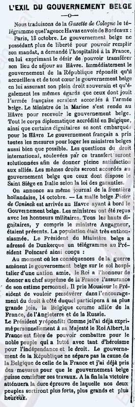 Exil Belge le bruxellois 18 10 1914