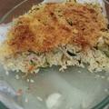 Gratin de courgettes, riz et lardons