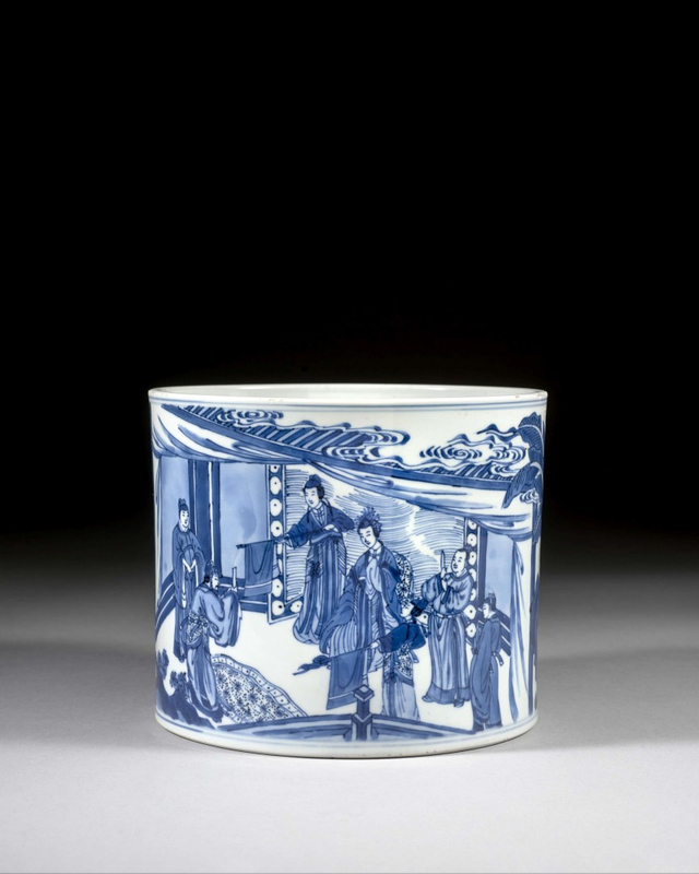 A blue and white porcelain brush pot, China, Qing dynasty, Kangxi period (1662-1722)