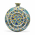 A kutahya pottery pilgrim's flask, ottoman turkey, 18th century