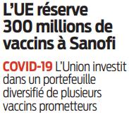 2020 08 01 SO L'UE réserve 300 millions de vaccins à Sanofi