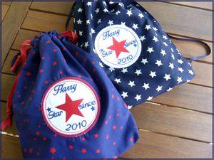 2 sacs brodés Harry avec étoiles