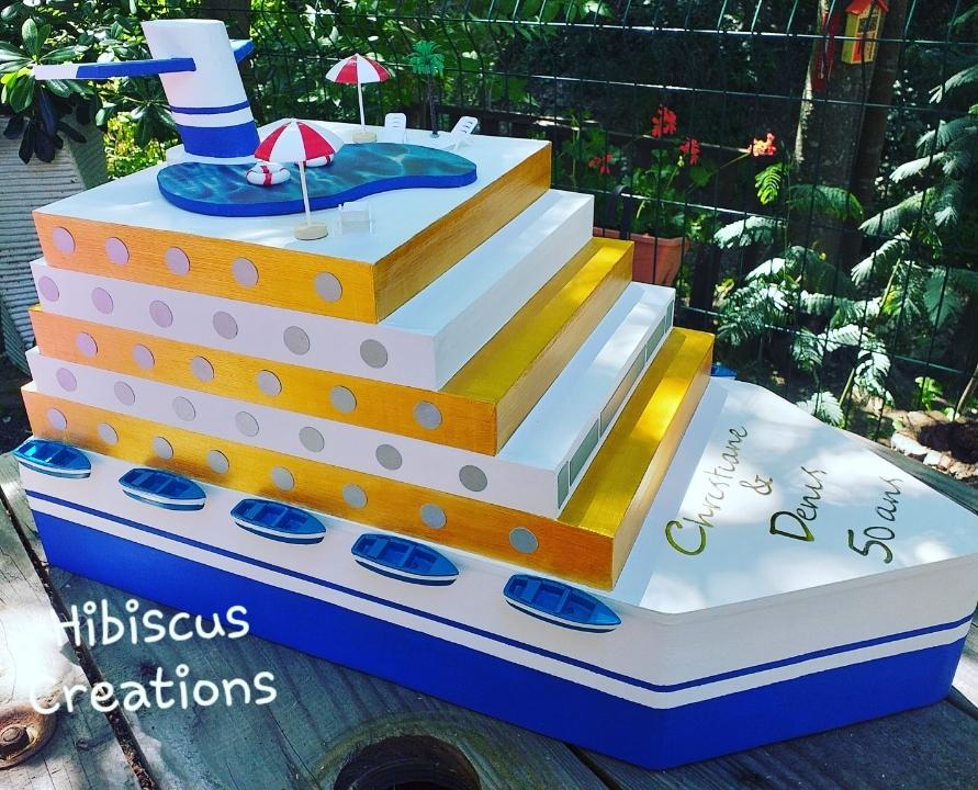 Urne bateau de croisière, paquebot, pour noces d'or