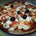 Pizza printanière (courgettes, chèvre, menthe)