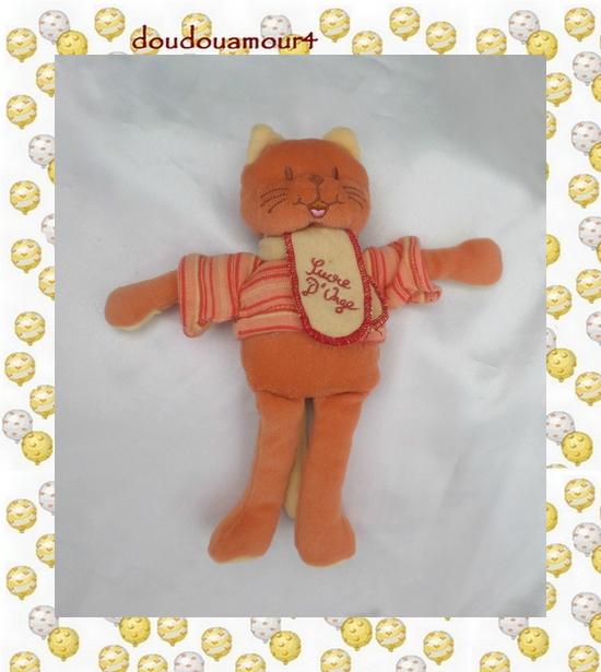 Doudou Peluche Chat Orange Écharpe Jaune T-Shirt Rayures Sucre D'orge