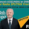 Bilan géopolitique de 2016 sur radio sputnik- france