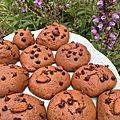 Cookies sans beurre, moelleux, au chocolat pralinoise et pépites de chocolat