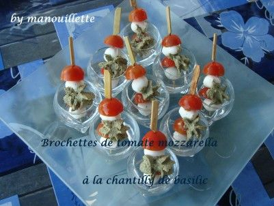 brochettes de tomates mozzarella la chantilly de basilic par pure gourmandise. Black Bedroom Furniture Sets. Home Design Ideas