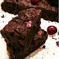 ..brownie au chocolat et canneberges (selon la recette de d. lebovitz)..