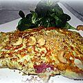 Omelette roulée panée, au jambon/chèvre et fruits secs