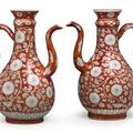 A large pair of iron-red ewers. kangxi period & rare