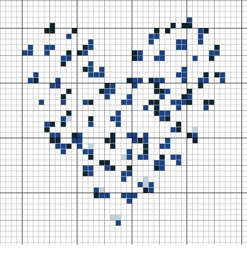 Coeur bleu/blanc