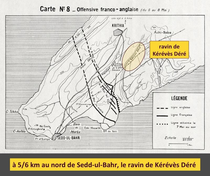 Sedd-ul-Bahr, lignes 8 mai 1915, légendé