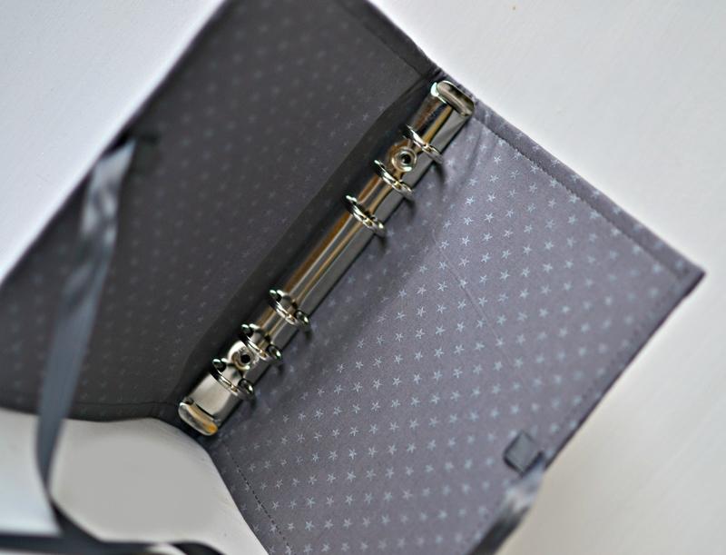 planneur en cuir et coton étoilé gris argent personal, planneur anneaux en cuir, organiseur en cuir personal ou a6, szp, shirley ze pap