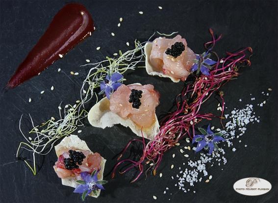 Sashimi_de_HOMARD_juste_marine_sur_une_tuile_de_farine_de_lentilles_caviar_de_hareng_fume_Le_Pois_Gourmand_a_Toulouse_31