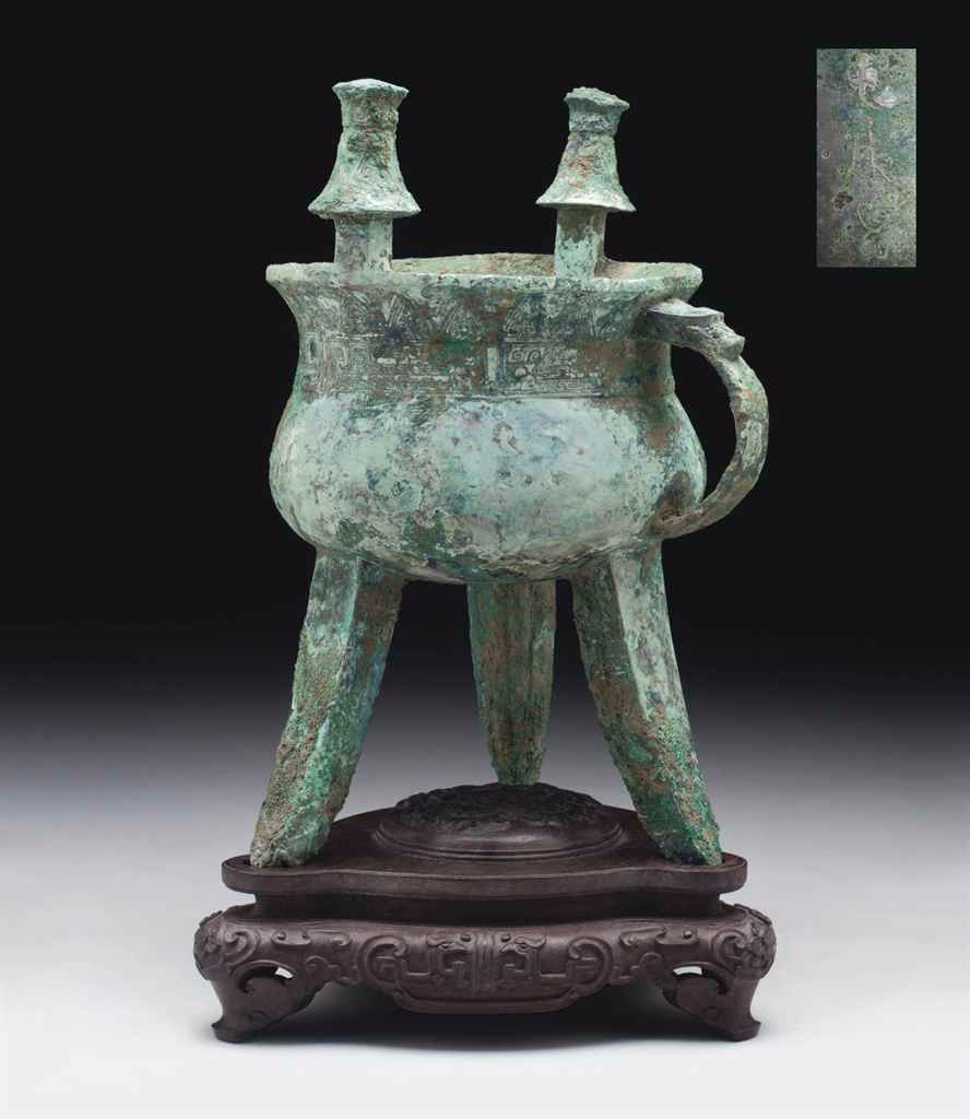 A bronze tripod ritual wine vessel,jia, Shang dynasty, 13th-12th century BC