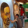 fresque pour salon de coiffure, ouagadougou, burkina faso